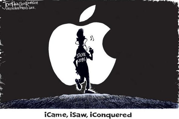 Image of A Man- S.Jobs-Walking Towards an Apple.The Title of Image: I Came, I Saw, I Conquered